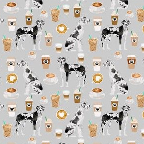 great dane coffee fabric - smaller version - grey
