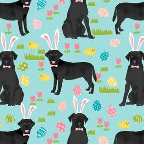 black lab fabric labrador retriever easter pastel fabric cute dog design - blue
