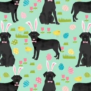 black lab fabric labrador retriever easter pastel fabric cute dog design - mint