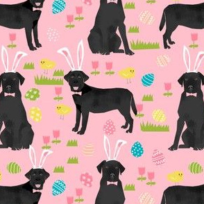 black lab fabric labrador retriever easter pastel fabric cute dog design - pink