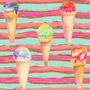 WATERCOLOR ICE CREAM CONES AND STRIPES AQUA MINT