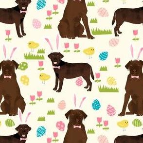 chocolate labrador easter fabric dog pastel easter spring design - cream