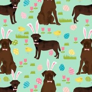chocolate labrador easter fabric dog pastel easter spring design - mint