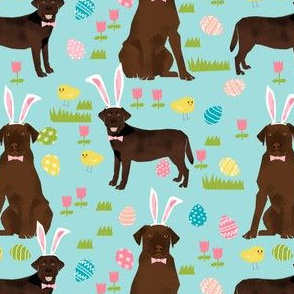 chocolate labrador easter fabric dog pastel easter spring design - blue