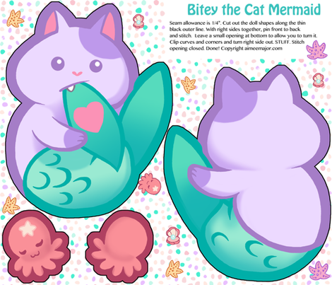 Bitey the Cat Mermaid Doll fabric by aimee on Spoonflower - custom fabric