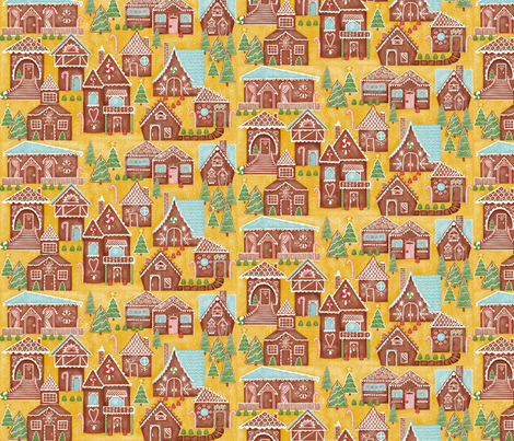 Gingerbread Village fabric by heather_brockman_lee on Spoonflower - custom fabric