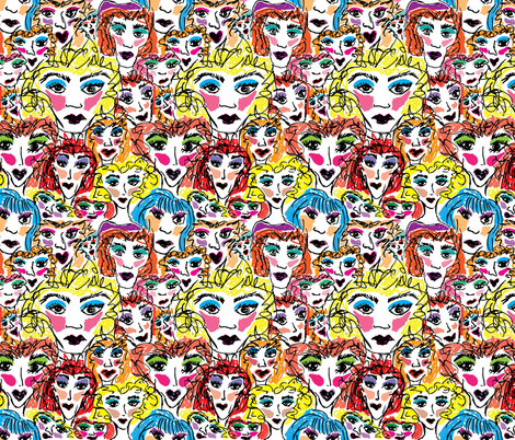 Lady Faces fabric by kikizales2024 on Spoonflower - custom fabric