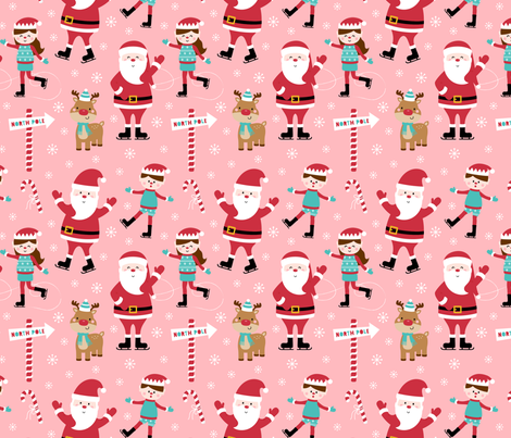 ice skaters on pink :: cheeky christmas fabric by misstiina on Spoonflower - custom fabric