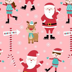 ice skaters on pink :: cheeky christmas