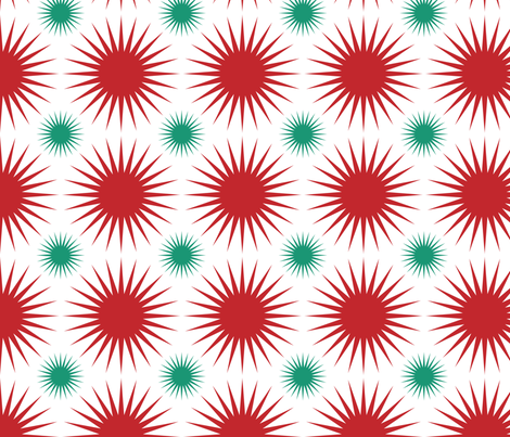 Starbursts Red and Green on White fabric by lesrubadesigns on Spoonflower - custom fabric