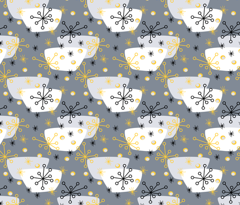 groovy snowflakes and soup bowls fabric by pamelachi on Spoonflower - custom fabric