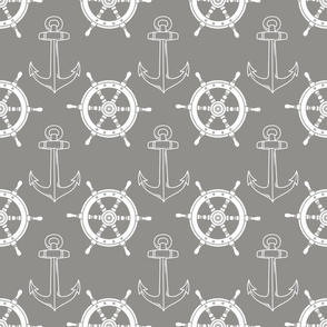 Ship Anchor and Wheel Grey