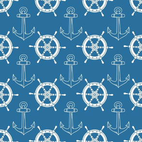 Nautical Ships Wheel and Anchor Blue