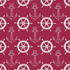 Nautical Wheel Anchor Merlot