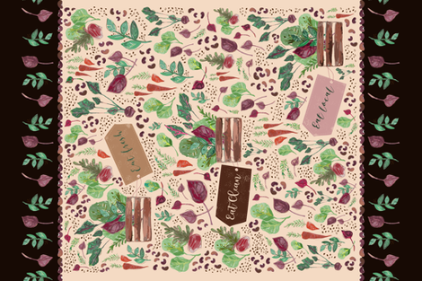 Eat Fresh, Eat Clean, Eat Local fabric by patriciasodre on Spoonflower - custom fabric