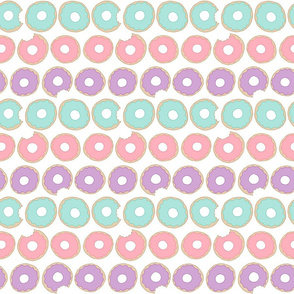 Donut Pattern in Pink, Purple and Aqua