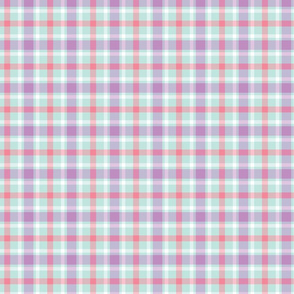 Aqua, Purple, and Pink Plaid