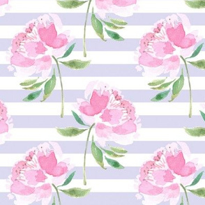 Peonies on Lavender White Stripes