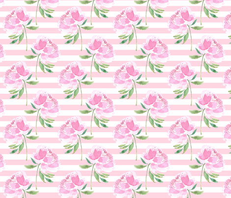 Peonies on Pink White Stripes fabric by tailormadeshop on Spoonflower - custom fabric