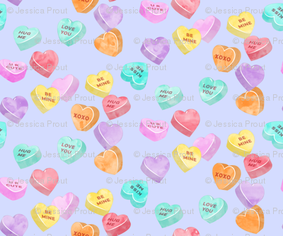 Valentines Day Heart Candy Conversation Hearts On Purple Wallpaper