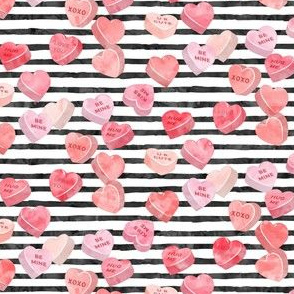 valentines day heart candy - conversation hearts on  stripes (red)