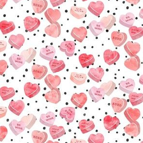 valentines day heart candy - conversation hearts on spots (red)