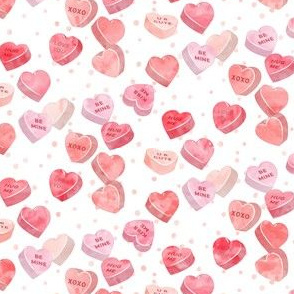 valentines day heart candy - conversation hearts on pink spots (red)