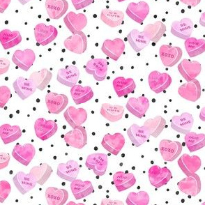 valentine's day heart candy - conversation hearts on spots (pink)