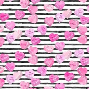 valentine's day heart candy - conversation hearts on stripes (pink)