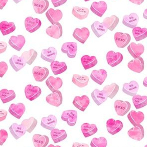 valentine's day heart candy - conversation hearts  (pink)