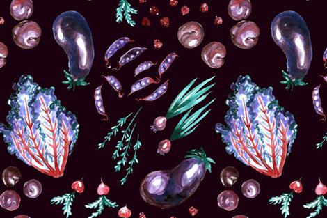 Veggie Aubergine fabric by joy&ink on Spoonflower - custom fabric