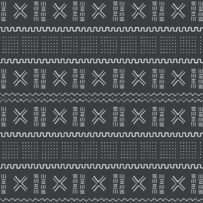 Mudcloth-Inspired Tribal Print 1A Black