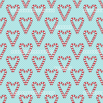 Candy Cane Hearts on Aqua
