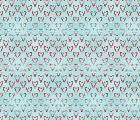 Candy Cane Hearts on Aqua fabric by northern_whimsy on Spoonflower - custom fabric