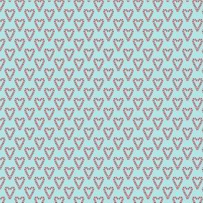 Candy Cane Hearts on Aqua