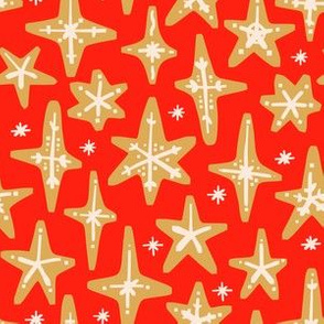 Gingerbread Stars on Red