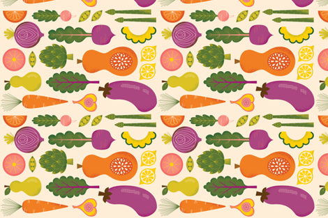 Eat Your Fruits and Veggies fabric by yourfriendirene on Spoonflower - custom fabric