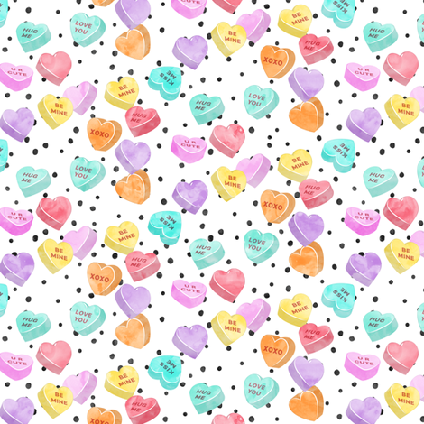 valentines day heart candy - conversation hearts  on spots  fabric by littlearrowdesign on Spoonflower - custom fabric