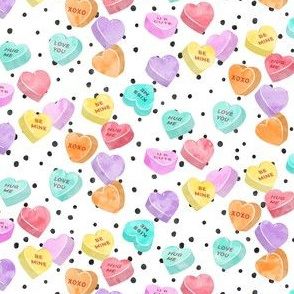 valentines day heart candy - conversation hearts  on spots