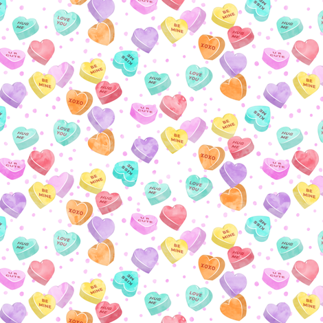 Valentines Day Heart Candy Conversation Hearts On Pink Spots