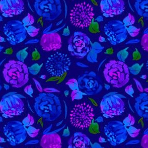 Watercolor Floral Garden in Electric Blue Bonnet