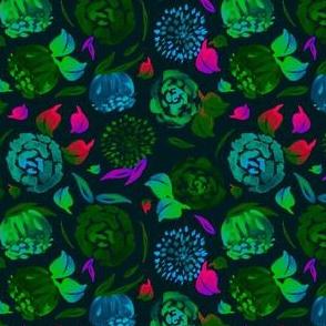 Watercolor Floral Garden in Electric Black Velvet