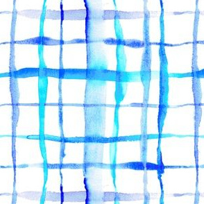Watercolor Abstract Plaid TieDye in Indigo Ink