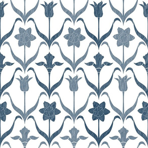 Spring Flower Bulbs in Bloom lrg White Navy