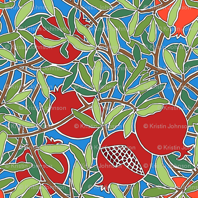 Pomegranate Tree with Fruit, Leaves, Branches on Blue