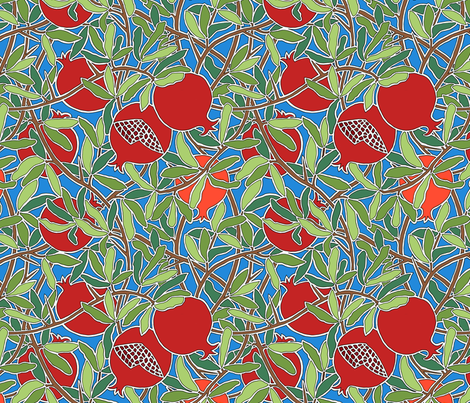 Pomegranate Tree with Fruit, Leaves, Branches on Blue  fabric by theplumgrove on Spoonflower - custom fabric