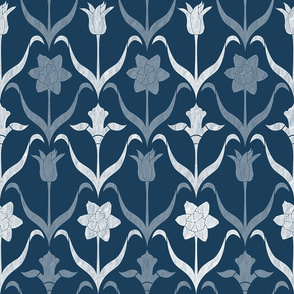 Spring Flower Bulbs in Bloom lrg Navy White