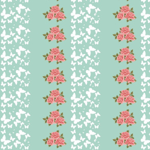 butterfly garden Stripe MED84 - mint