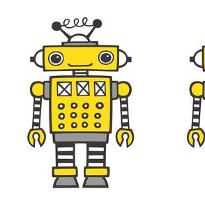 Yellow Robot Plush Plushie Softie Cut & Sew