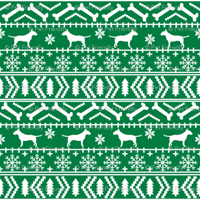 Bull Terrier fair isle christmas dog silhouette fabric green